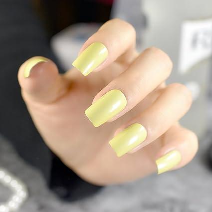 EchiQ - 24 uñas postizas de color amarillo verde, cabeza cuadrada, acrílico, para