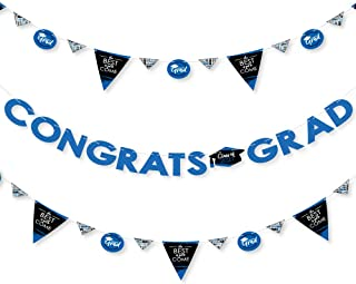 product image for Big Dot of Happiness Blue Grad - Best is Yet to Come - 2021 Royal Blue Graduation Party Letter Banner Decoration - 36 Banner Cutouts and Congrats Grad Banner Letters