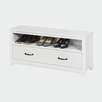 SoBuy FSR48 W Banc de Rangement Meuble à Chaussures Meuble d'Entrée Commode à Chaussures Confortable avec tiroir et étagère Blanc