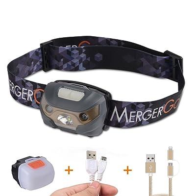 USB LED rechargeable Headlamp-ultra léger et confortable, Super Bright, Waterproof-head lampe torche Idéale pour la course à pied, le camping, la randonnée, Jogging, marche, pêche, lecture, v