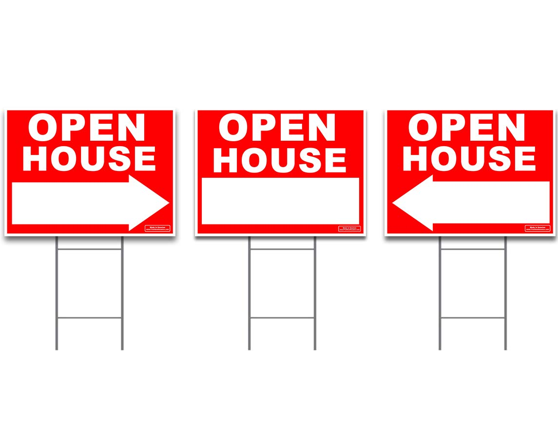 Large OPEN HOUSE Sign Kit with Tall Stands - Yard Sign Bundle for Real Estate - 3 Pack - (1) 24'' x 18'' Yard Sign with (2) Directional LEFT or RIGHT Arrow + (3) 24'' Tall Wire Stakes