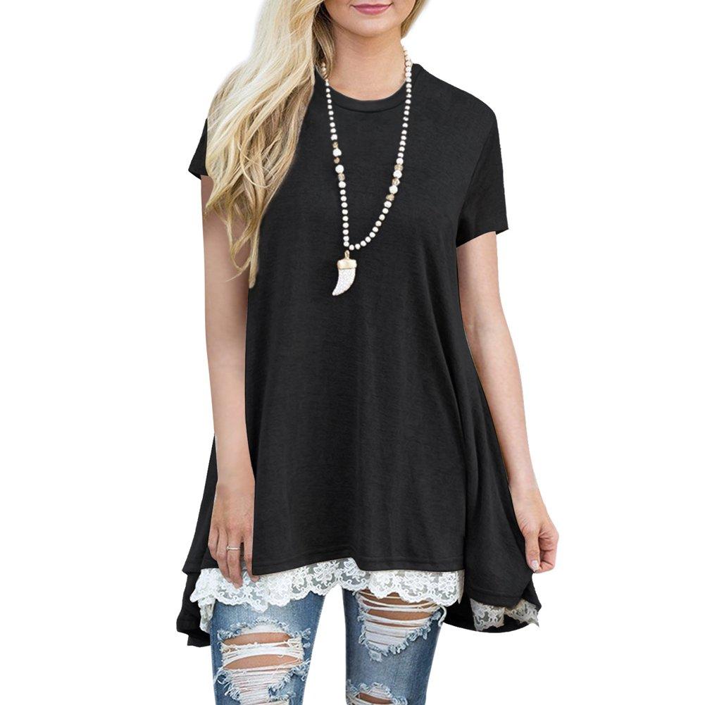 Highdas Damen Frauen Beiläufige Casual Loose T-Shirt Kleid Sommer A-Linie  Irregulär T-Shirt Spitze Kurze Ärmel  Amazon.de  Bekleidung 7251d9cadf