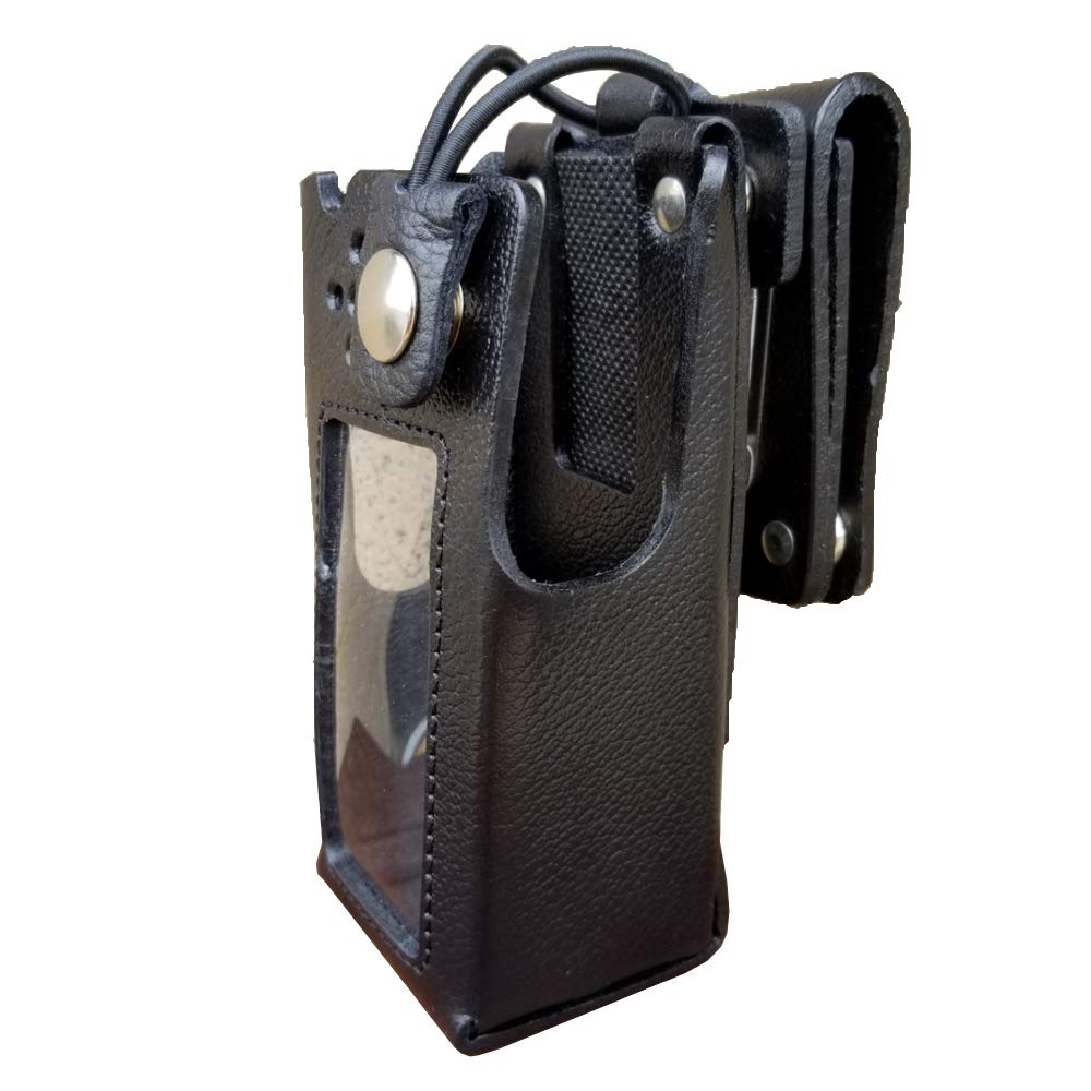 Case Guys MR8590-3BW Hard Leather Swivel Belt Loop Holster Case with Bungee Cord for Motorola APX 4000 Two Way Radios