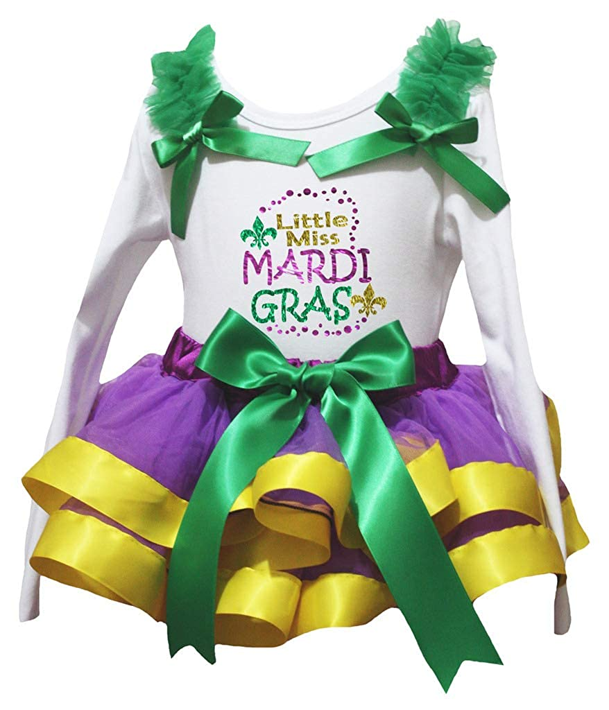 Petitebella Mardi Gras White L//s Shirt Purple Sequins Petti Skirt Outfit 1-8y