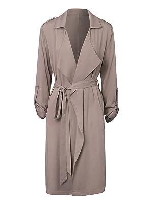 Choies Women Khaki Draped Front Belt Waist Lapel V-neck Lightweight Trench Coat