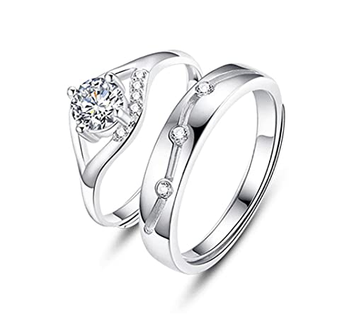 81f910ecbd Amazon.com: TIDOO Jewelry Sterling Silver His and Hers Cubic Zirconia  Wedding Ring Sets Couples Matching Rings: TIDOO: Jewelry