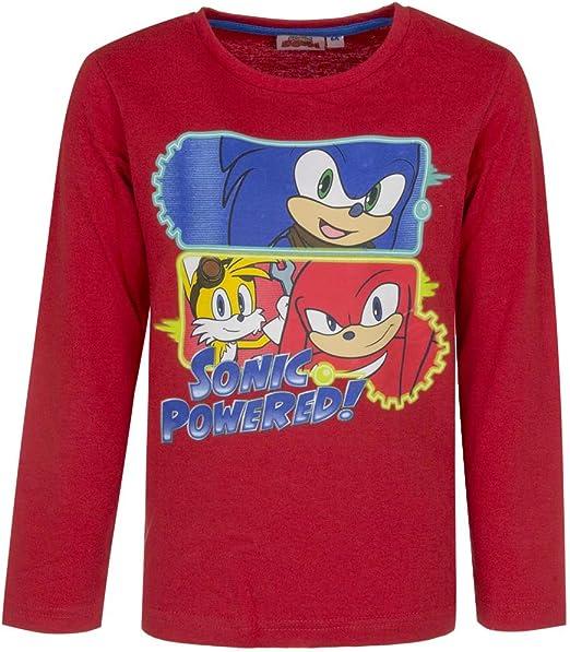 T-shirt Sonic manches longues couleur bleu gris rouge coton grand 98,104