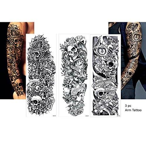 3Sheet vollen Bras tatouage noir faux tatouage Tête de Mort Roses Longueur 45cm