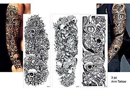 3 Sheet Vollen Bras Tatouage Noir Faux Tatouage Tete De Mort Roses