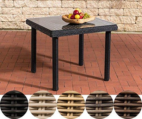 CLP Poly-Rattan Garten-Tisch PUERTO RICO, Klarglas, Esstisch quadratisch, ALU Gestell, Höhe 73 cm, 5 Farben + 3 Größen wählbar Rattanfarbe: Schwarz, 100 x 100 cm