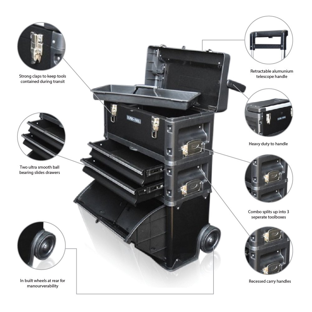 us pro tools black work center plastic steel mobile rolling chest trolley cart cabinet 3 in 1 tool box wheels amazoncouk diy u0026 tools