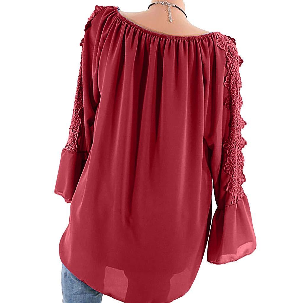 Plus Size Blouse Women Slash Neck Long Sleeves Pure Color Lace Splicing Tops