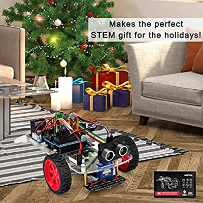 OSOYOO Model 3 Robot Car DIY Starter Kit for Arduino UNO | Remote Control App Educational Motorized Robotics for Building Programming Learning How to Code | IOT Mechanical Coding for Kids Teens Adults: Toys & Games