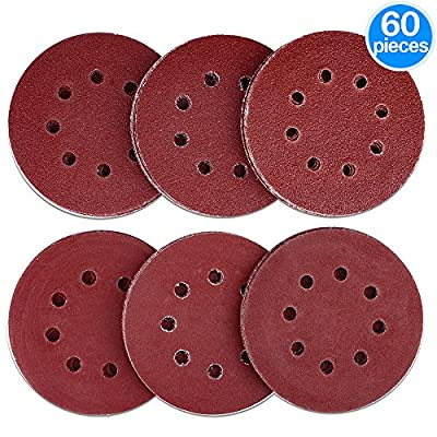AUSTOR 60 Pieces 8 Holes Sanding Discs, 5 Inch Hook and Loop 40/ 60/ 80/ 120/ 180/ 240 Grit Sandpaper Assortment for Random Orbital Sander