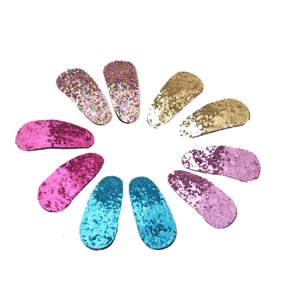 YueLian Little Girl's Pure Color Sequins Barrettes Shiny Baby Hair Pins Set (sequins)