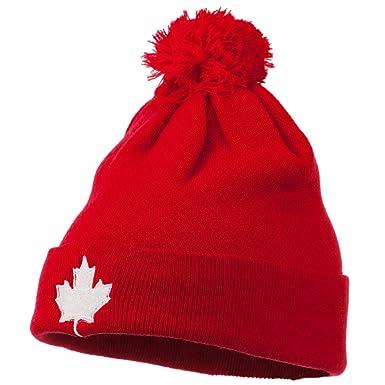 295ef62ebe1 Amazon.com  Canada Maple Leaf Embroidered Pom Beanie - Red OSFM ...