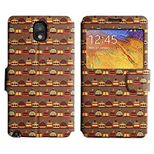 Be-Star Diseño Impreso Colorido Slim Casa Carcasa Funda Case PU Cuero - Stand Function para Samsung Galaxy Note 3 III / N9000 / N9005 ( Sweet Food )