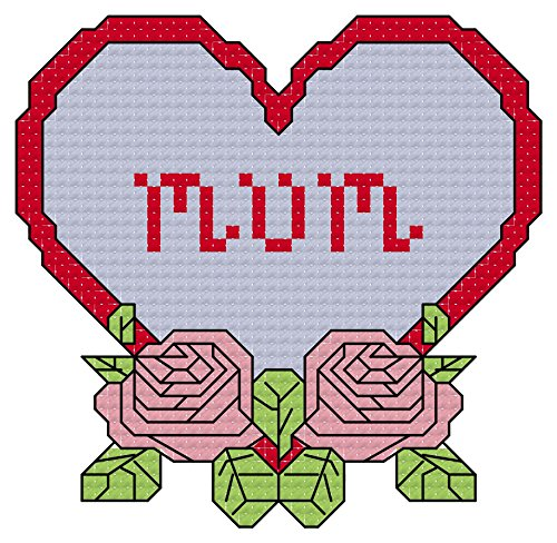 - Mum - love n roses heart cross stitch chart/ pattern: Whole cross stitch, half cross stitch and backstitch used