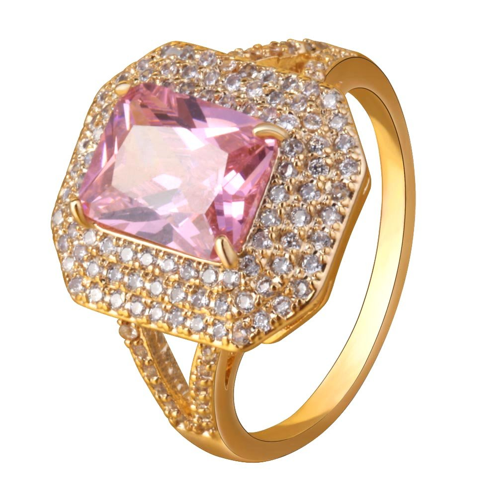 YAZILIND Gold Plated Women Cubic Zirconia Promise Engagement Band Ring