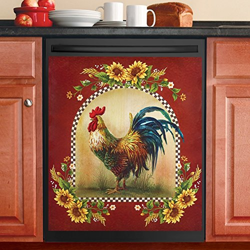 Collections Etc Sunflower and Rooster Country Dishwasher Magnet, Red by Collections Etc (Image #1)