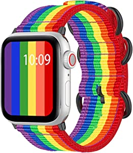 SIXRARI Sport Watch Strap Bands Compatible with Apple Watch Band 42mm 44mm, Nylon Wristband Loop Replacement with Adjustable Military Buckle for iWatch Series 5 4 3 2 1 Rainbow