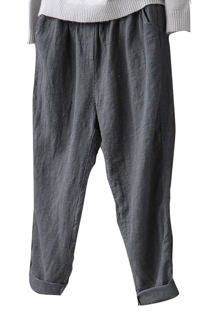 Soojun Womens Cotton Linen Loose Fit Elastic Waist Harm Pant, Grey, Large