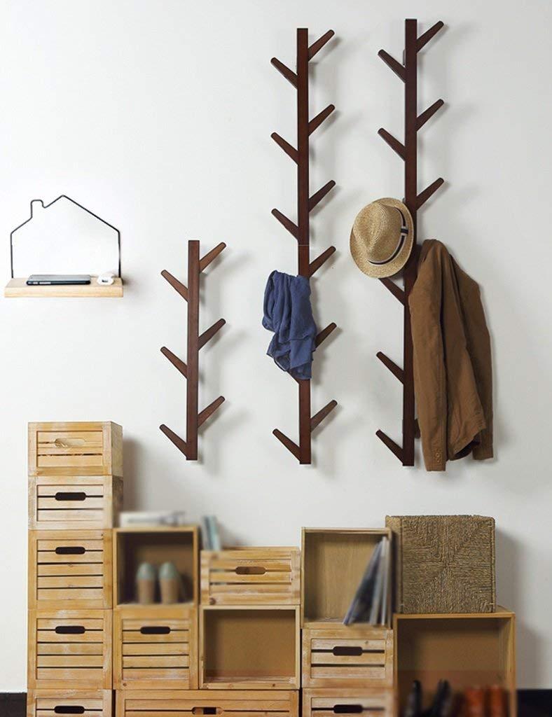 SED Coat Rack-Hanger Floor Bedroom Solid Wood Wall Hanging Living Room Modern Minimalist Sturdy Space Saving Storage Rack,10 Hooks,Vintage Color by SED (Image #1)