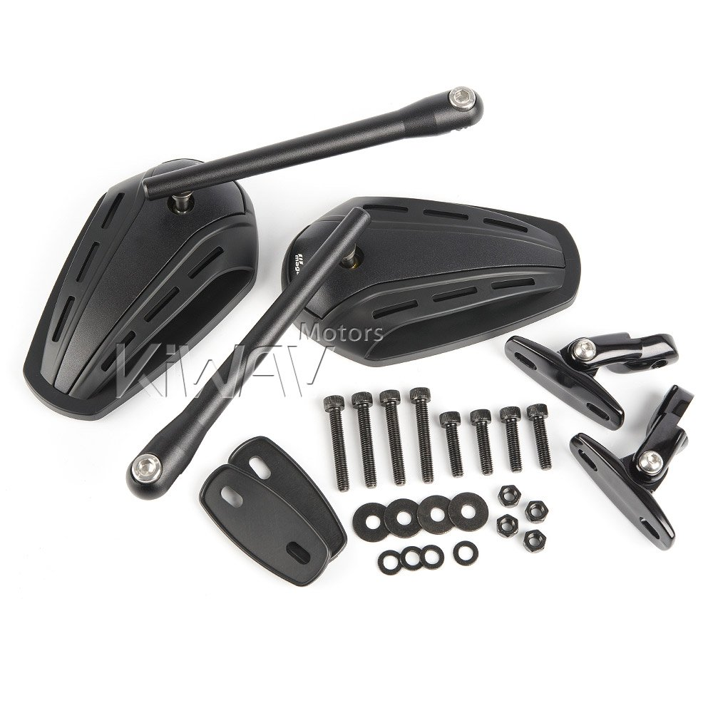 KiWAV Magazi Zipper motorcycle fairing mirrors aluminum black for Sportbike w/ gloss black adapter by KiWAV (Image #7)