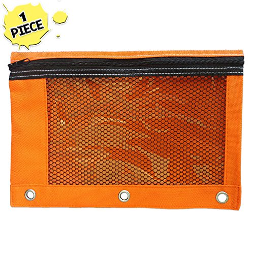1 Orange Zippered Pencil Pouch by School Smarts - 3 Ring Orange Pencil Case with Mesh and plastic window. For Use in and Out of the Classroom. 3 Plastic Windows