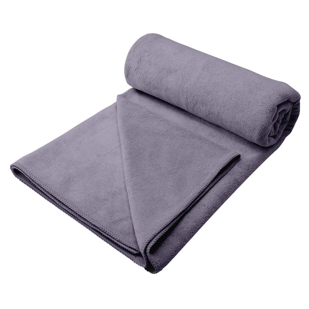 YOUYUN Dog Towel, 55'' x 27'' Ultra Large Absorbent Microfiber Pet Drying Towel, Won't Pilling or Trap Fur, Soft Touch Pet Bath Towel and Bed Blanket for Large/Medium/Small Dogs and Cats, Gray