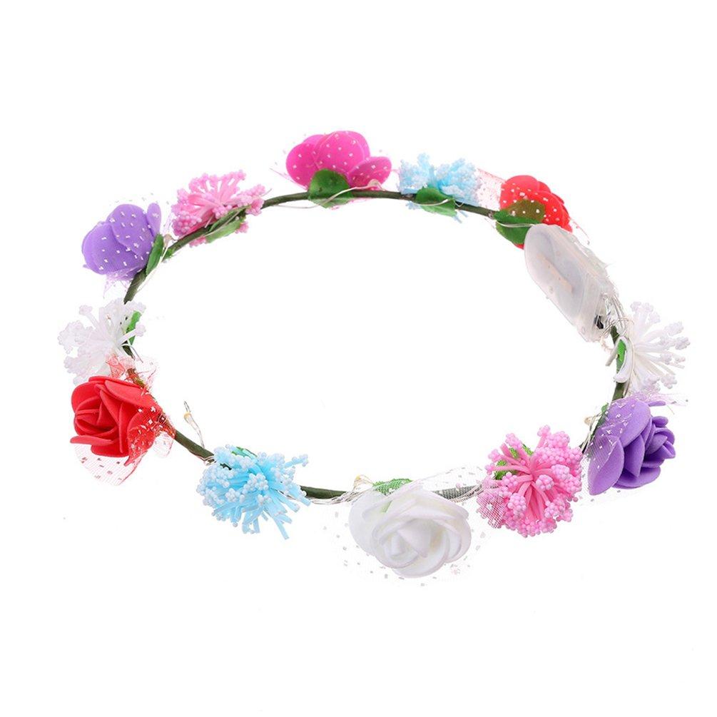 BODHI2000LED luminoso rosa fiore corona fascia floreale corona Garland Halo for wedding multicolore ...