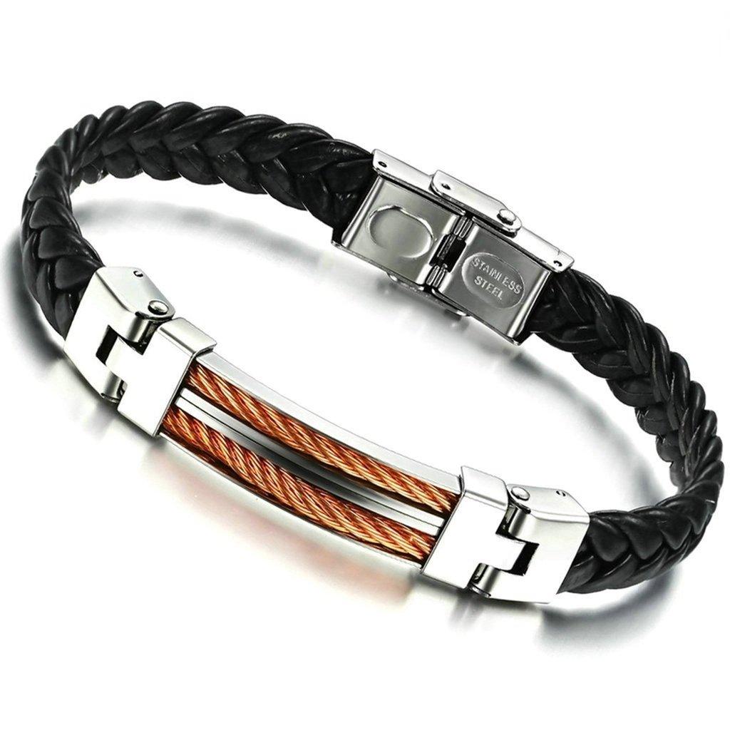 Bishiling Modeschmuck Armband Herren Edelstahl Leder Lederarmband Doppel Kabel Charm Armbänder Silber Schwarz Länge 23CM BSL0W1S082BRAC