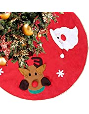 KIMIOX Christmas Tree Skirt 42 Inch Rustic Large Red Xmas Tree Skirts with Knit Snowman Santa Claus Deer Mat for Pencil Tree