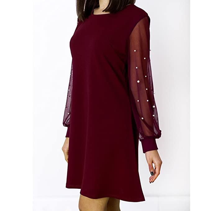 6c0dec940ea8c HGWXX7 Women Long Sleeves Dress Fashion Casual O-Neck Solid Beading Mesh  Perspective Mini Dress Skirt at Amazon Women s Clothing store
