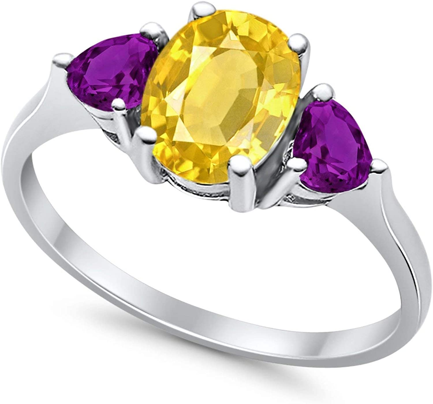 Blue Apple Co Fashion Promise Ring 3-Stone Oval /& Heart Simulated Amethyst CZ 925 Sterling Silver