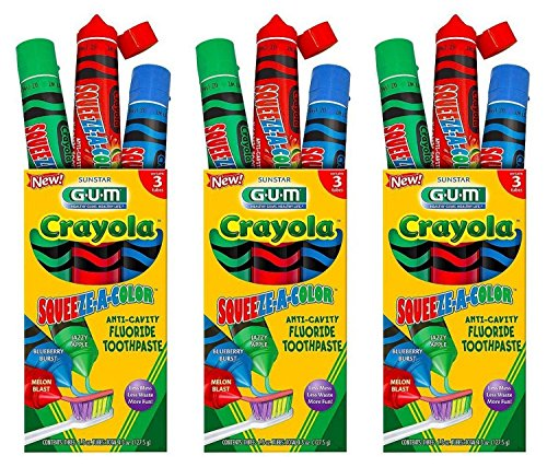 Toothpaste Apple Flavored (Crayola GUM Squeeze-A-Color Anticavity Fluoride Toothpaste w/Yummy Non-Staining Flavors to Promote Oral Health for Kids- Melon Blast, Blueberry Burst, Jazzy Apple – (9) 1.5oz Tubes, Pack of 3)