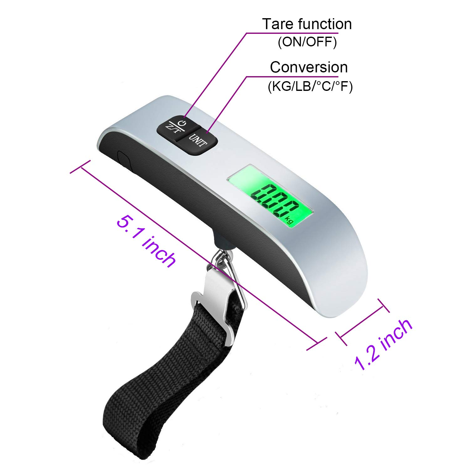 Digital Luggage Scale Max 110lbs//50kg Baggage Scale with Backlit LCD Display WGGE Travel Luggage Weight Scale