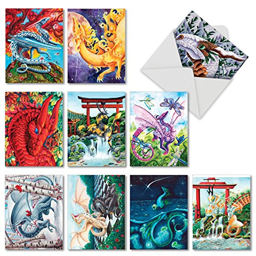Dragon Dreams - Box of 10 Fantasy Blank Greeting Cards with Envelopes (4 x 5.12 Inch) - Colorful Animal Art All-Occasion Note Cards for Kids - Inspirational Notecard Set AM6293OCB-B1x10