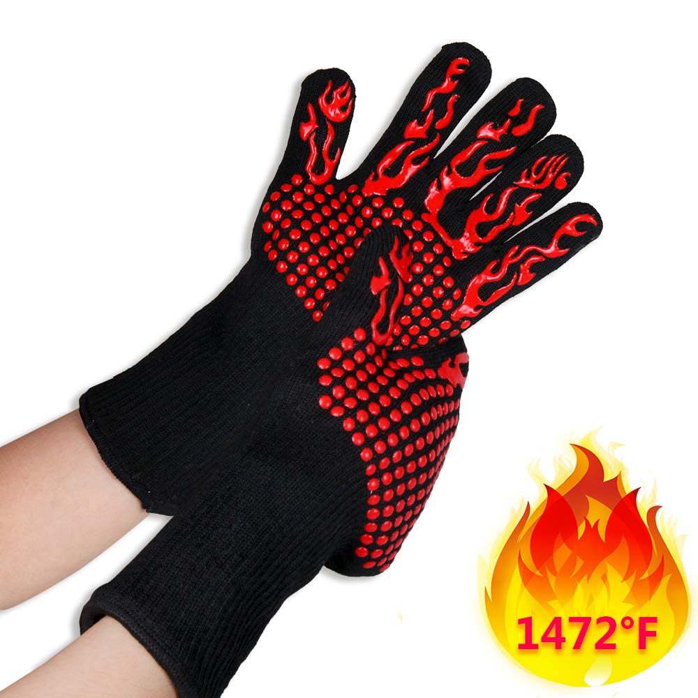 SIX FOXES Oven Gloves, Silicone Barbecue Grilling Gloves Extreme Heat Resistant, Anti-Slip Kitchen Oven Mitts, Cut Resistant Gloves for Cooking, Baking, Welding, Cutting - Black Red
