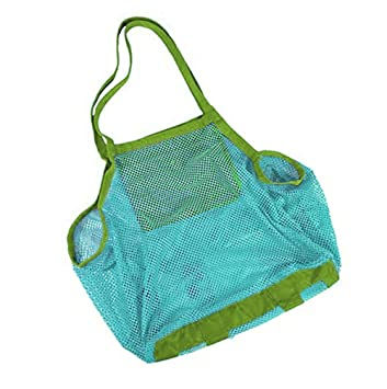 Nikgic Mesh bolsas de playa arena playa juguetes toalla bolsa saco Collection shell juguetes de bandeja de arena talla 45 * 26 * 45 cm, azul, M: Amazon.es: ...