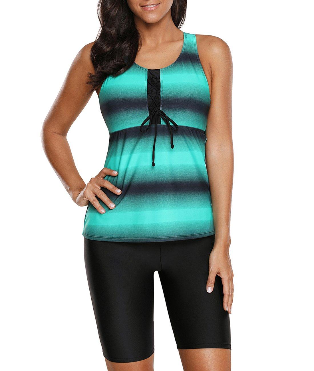 Urchics Womens Plus Size Racerback Tankini Swimsuit Rash Guard Swimwear Green XL