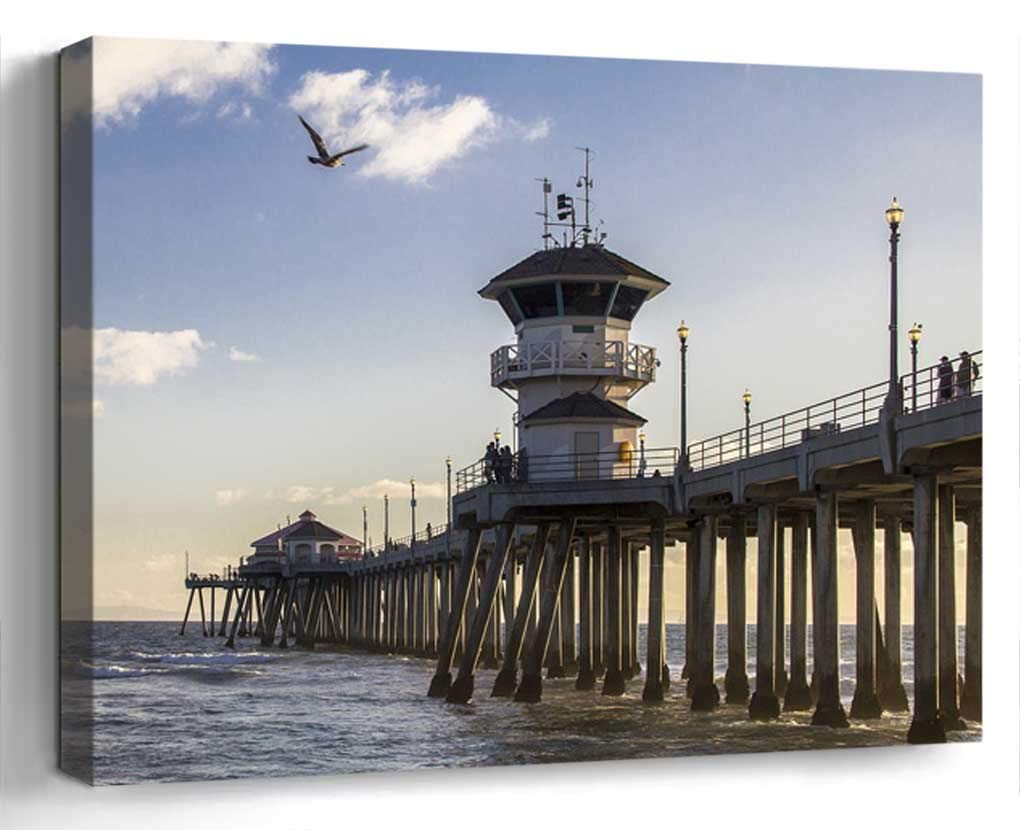 Wall Art Canvas Print Home Decor (20x14 inches)- Huntington Beach California Water Surf Pier