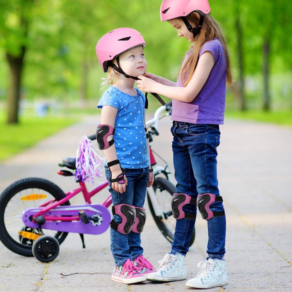6-16 Anni ValueTalks Set di Casco Protezione Bambini con Casco Regolabile Ginocchiere Gomitiere e Polsiere per Skate Bicicletta Pattinaggio Monopattino e Altri Sport Estermi