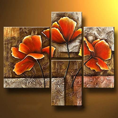 Wieco Art – Golden Poppies On Golden Texture Modern Stretched and Framed Flowers Artwork 4 Panels 100 Hand Painted Abstract Floral Oil Paintings on Canvas Wall Art Ready to Hang for Living Room Bedroom Home Decorations