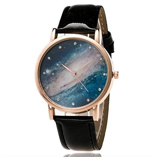Simple Couple Quartz Watch No Number Star Sky Dial Pu Leather Wristband Casual Watches Gifts For Women Men Ll@17 Women's Watches