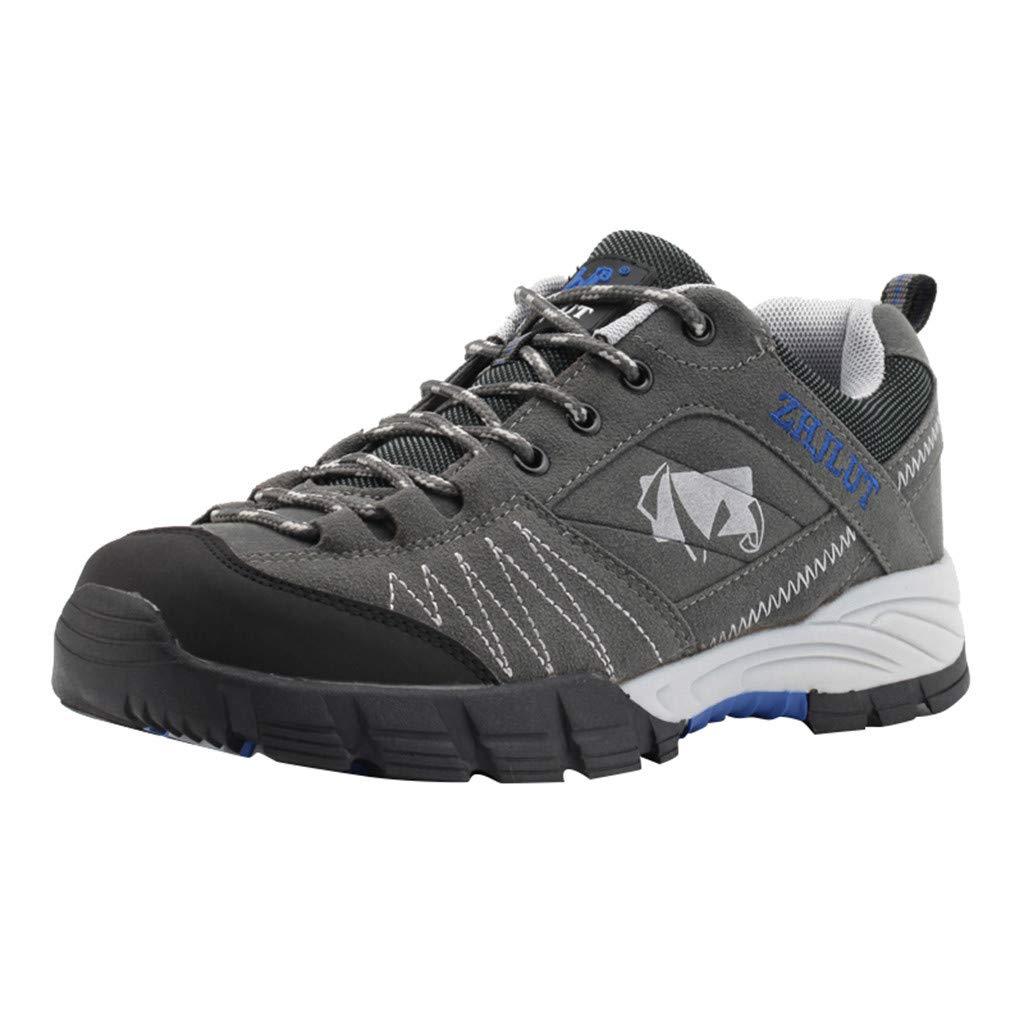 Hiking Shoes Men Non-Slip Low Top Outdoor Trailing Trekking Walking Sports Sneakers (US:7.5, Gray)