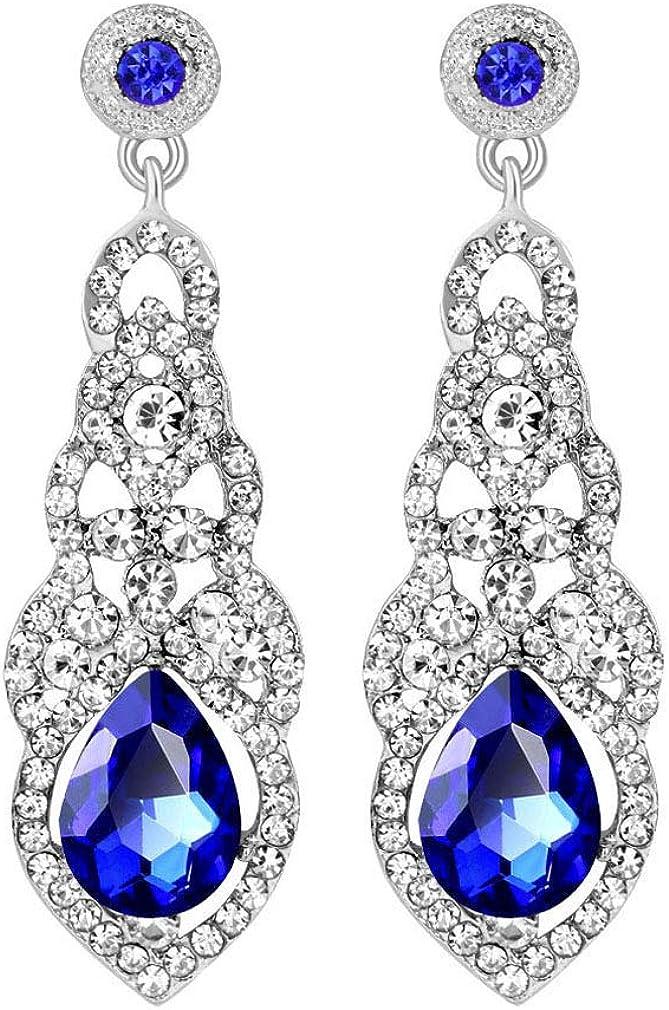 YAZILIND Boucles doreilles pendantes avec strass topaze blanche