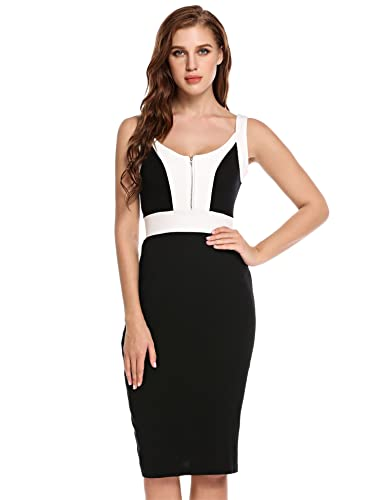 Meaneor Women's Sleeveless Business Optical Illusion Cocktail Pencil Bodycon Dress