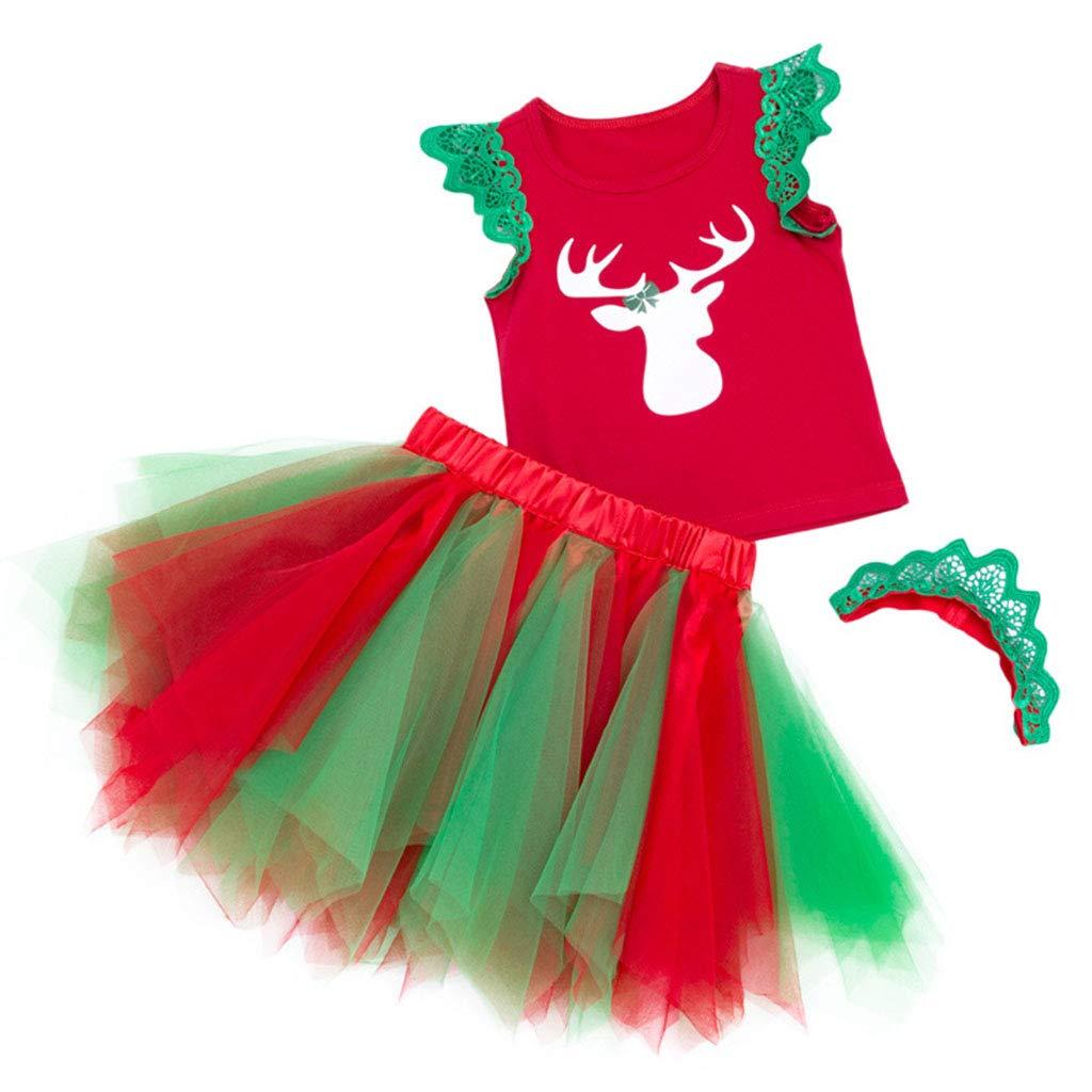 Niños Niñas Conjunto de Trajes 3 Piezas Navidad Chaleco y Falda de Tutú Vestido con Venda Ropa 1-3 Años ShenzhenWindyTradingCo. Ltd