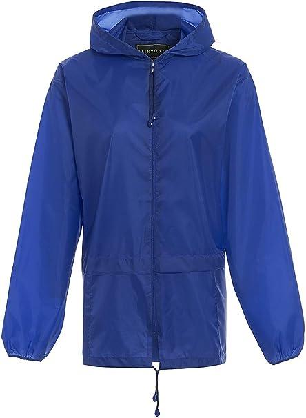 Raincoat New Royal Blue Hooded Long Waterproof Mac  Rain Wear Fashion